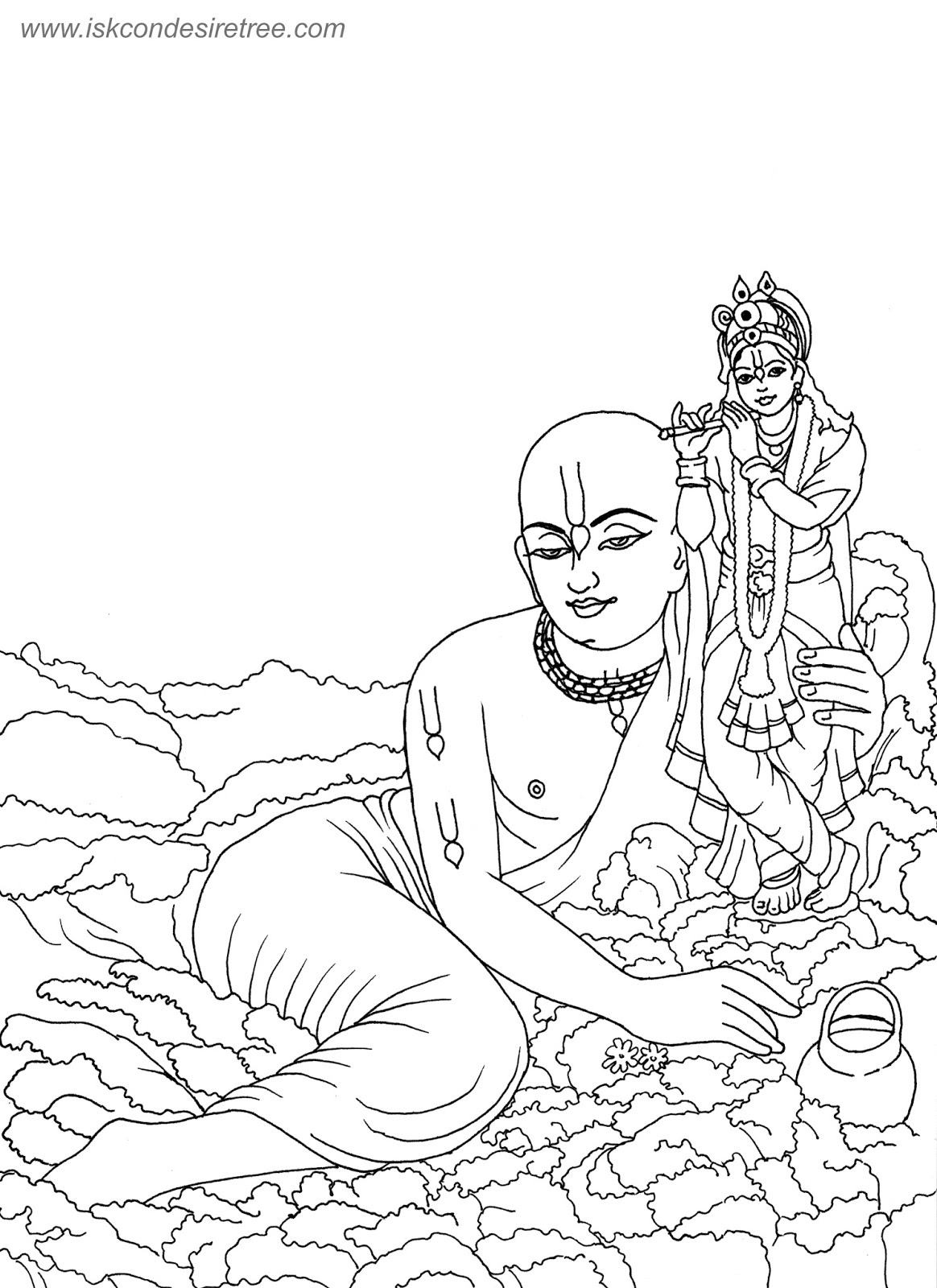 Line Art Krishna : Bhagavat chintan das bhikaji sri chaitanya mahaprabhu