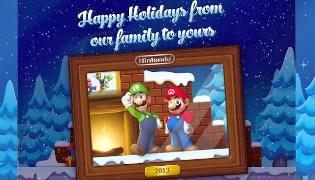 "Image of Nintendo's 2013 Holiday e-card showing Mario and Luigi in a portrait with snow-covered trees in the background. The words ""Happy Holidays from our family to yours"" are displayed above the portrait."