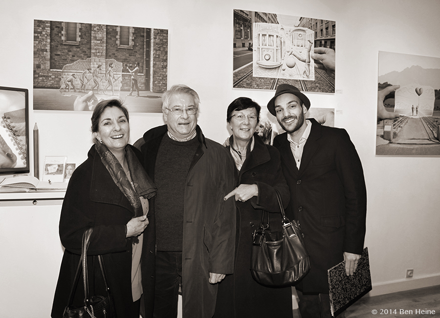 Cathy Lebizay, Guy Vandekerckhove and Ben Heine at Ben Heine Opening at DCA Gallery - Belgium - 2014