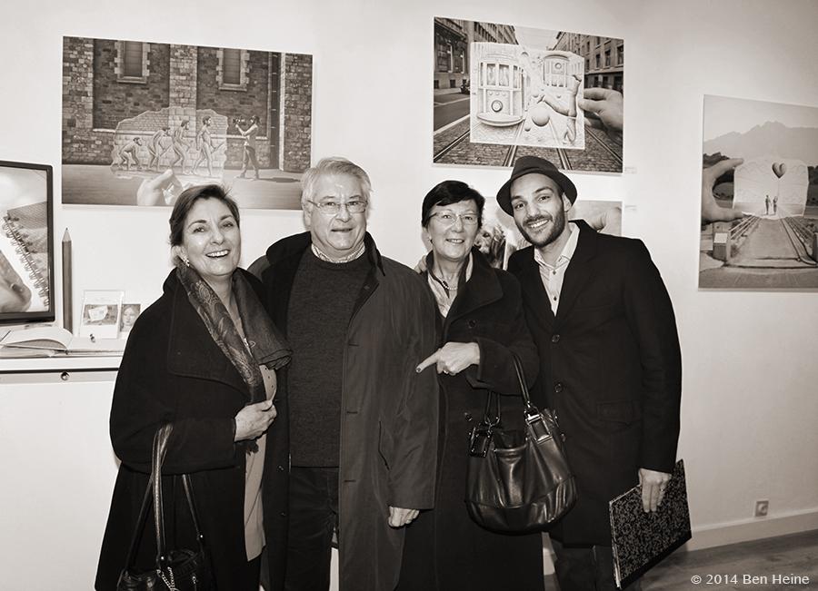 Cathy Lebizay, Guy Vandekerckhove and Ben Heine at Ben Heine Opening at DCA Gallery - Belgium - 2014