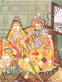 In this portrait, the King-Emperor and Queen-Empress of India are attired in Indian clothes and decked in an array of traditional ornaments.