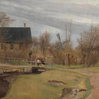 Udsnit fra maleriet 'Forår i Hals' af L.A. Ring, 1892