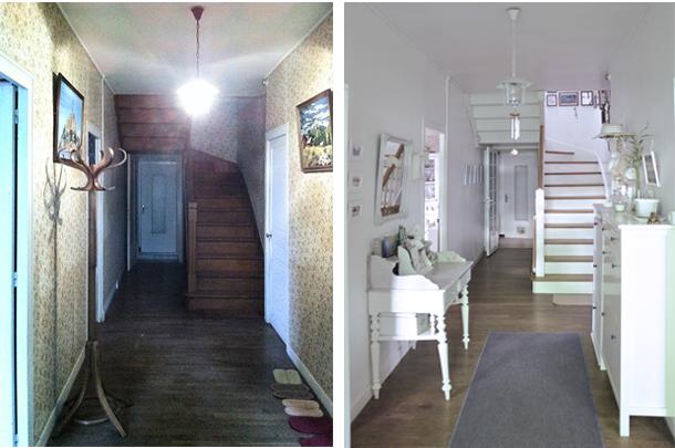 Entrée corridor vestibule entrance décoration transformation avant après