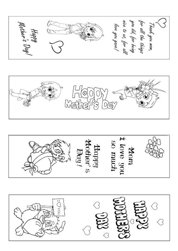 Marcapáginas para colorear para el día de la madre title=