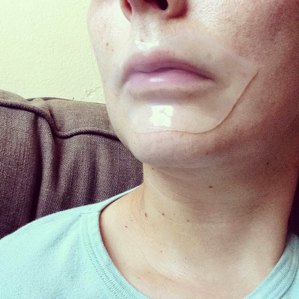 Choosy Pure Smile Lip Pack Milk gel lip mask worn on face
