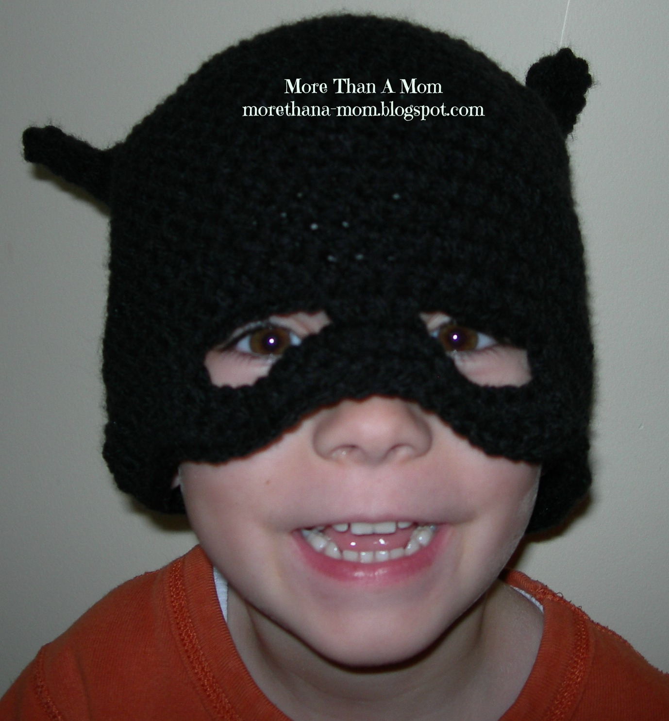 Free Crochet Pattern For Batman Hat : More Than A Mom: Crochet Batman Hat - FREE Pattern!