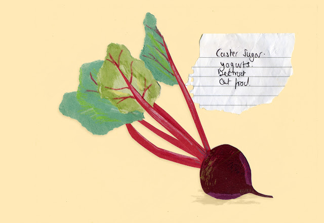 Illustrated shopping list - beetroot collage illustration