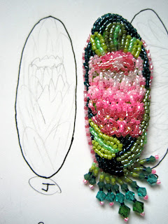 February Bead Journal Proejct 2011 South African protea with concept sketch