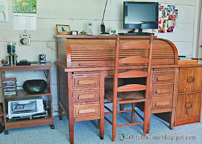 Antique oak rolltop desk