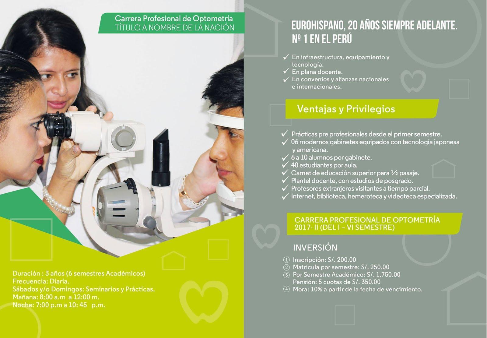 Estudia Optometria Admisión 2017