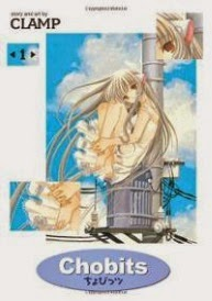 Cover of the first Chobits omnibus, featuring a Japanese girl with overly large ears seated atop a metal contraption with her knees held tight against her chest. She wears a pale dress just a little lighter than her skin.