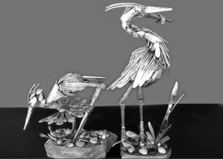 19 seni sendok garpu burung pemakan ikan