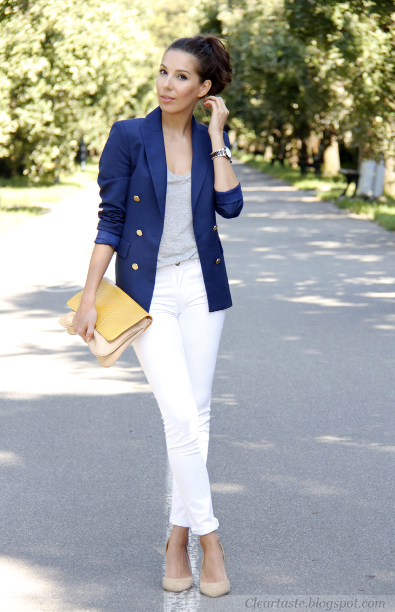 Zara Double Breasted Blazer With Metallic Button