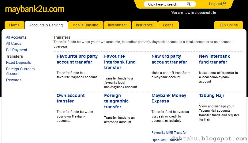 Maybank2u Maybank Transfer ke Tabung Haji