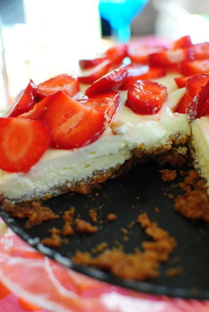 recept, cheesecake, jordgubbar