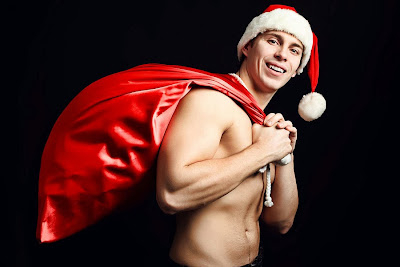 sexy shirtless santa with his sack
