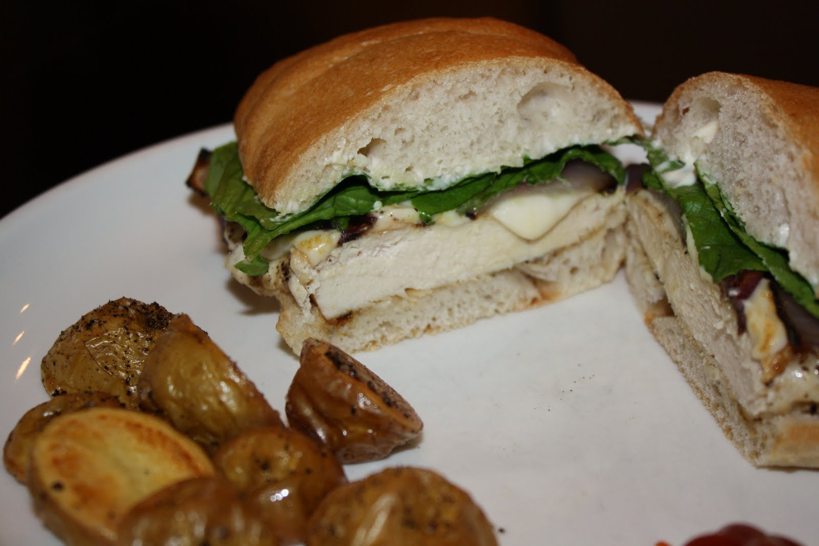 Chicken, Onion, And Mozzarella Sandwiches With Roasted Potatoes ...