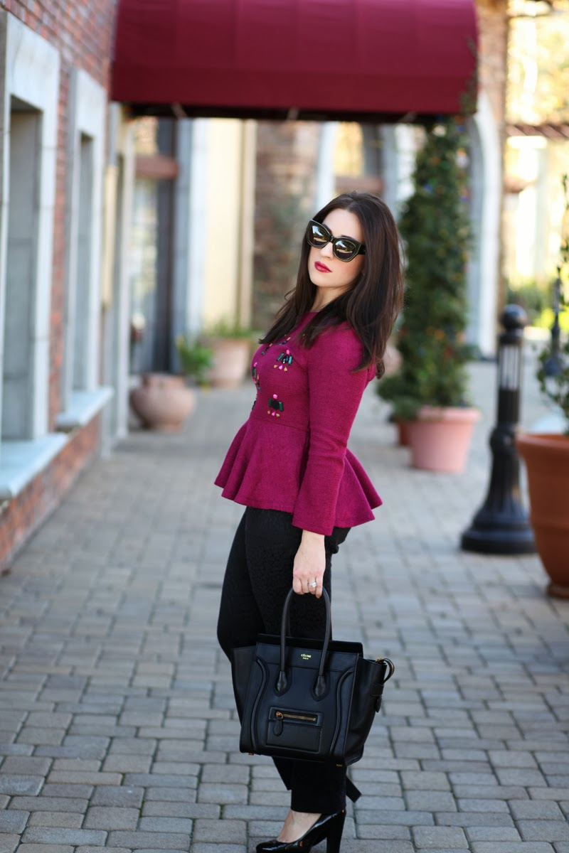 purple-peplum-sweater-karen-walker-northern-lights-sunglasses-san-diego-style-bloggers-celine-tote-brunette-blogger