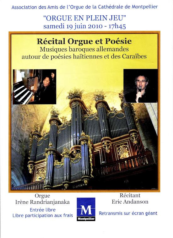 Récital Orgue et Poésie, en hommage au peuple haïtien, cathédrale de Montpellier, le 19 juin 2010
