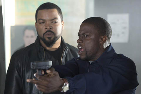 Ice Cube and Kevin Hart at a shooting range in Ride Along