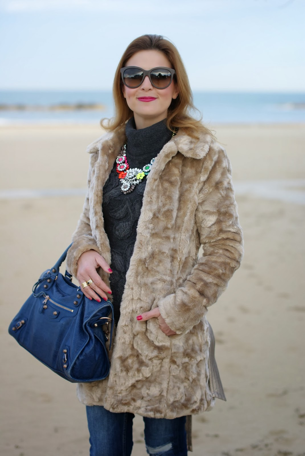 Lipsy faux fur, Balenciaga City bag, Fashion and Cookies, fashion blogger