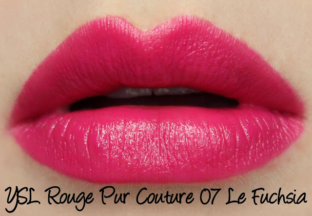 YSL Rouge Pur Couture - 07 Le Fuchsia Lipstick Swatches & Review
