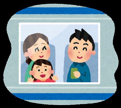 電車旅行をしている家族のイラスト