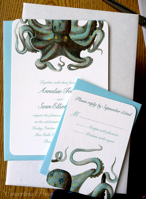 Octopus Wedding Invitations - unique beach wedding invitations with aqua envelopes by Concertina Press nautical stationery