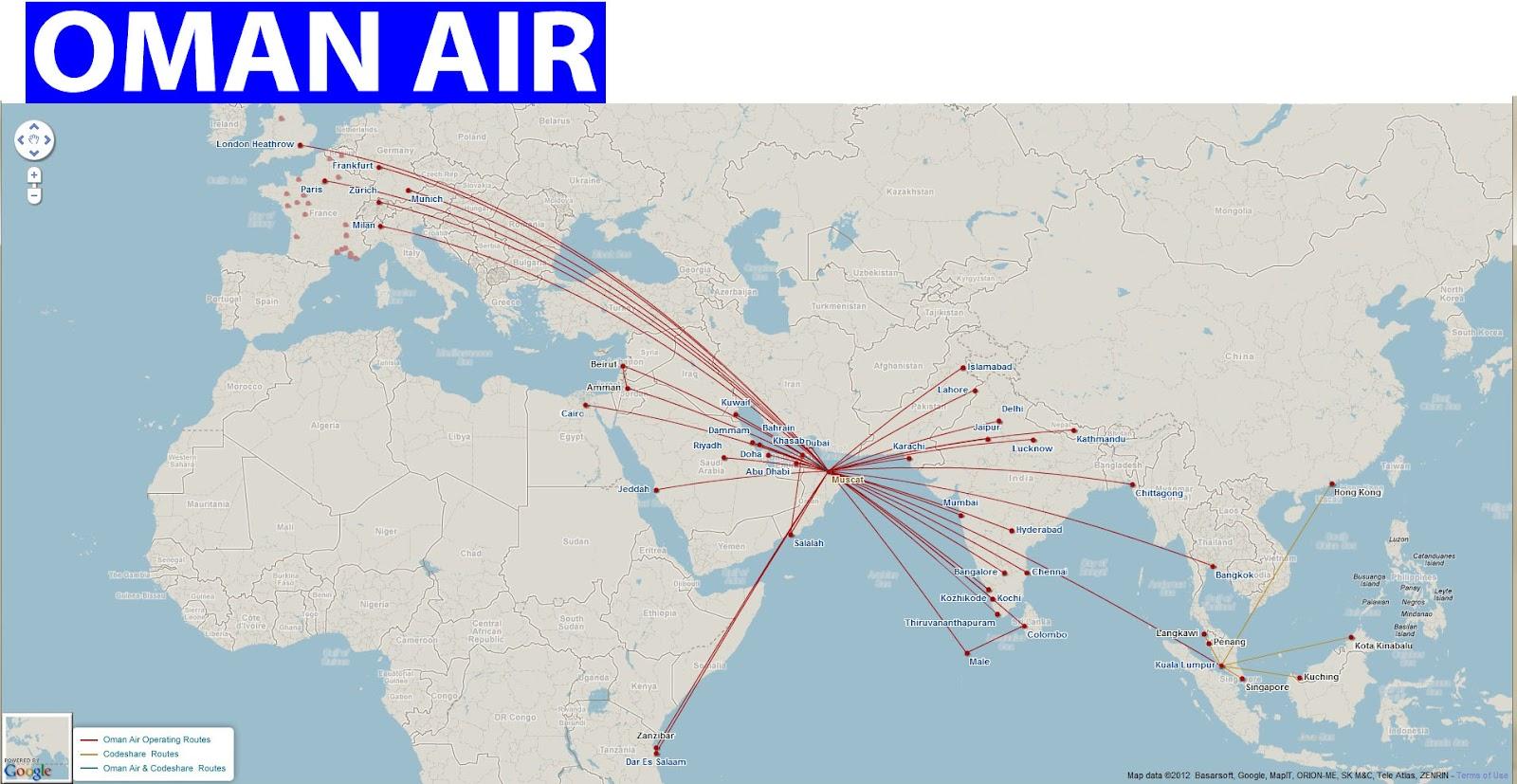oman air routes map oman air flights