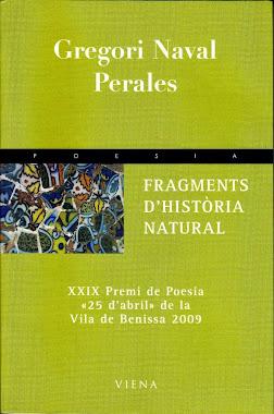 PORTADA DE FRAGMENTS D'HISTÒRIA  NATURAL