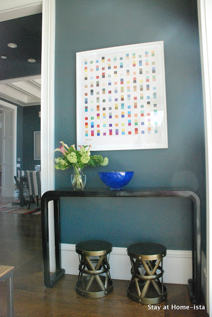 Joss and Main art print over black console with blue glass bowl, http://www.jossandmain.com/invite/StayatHomeista