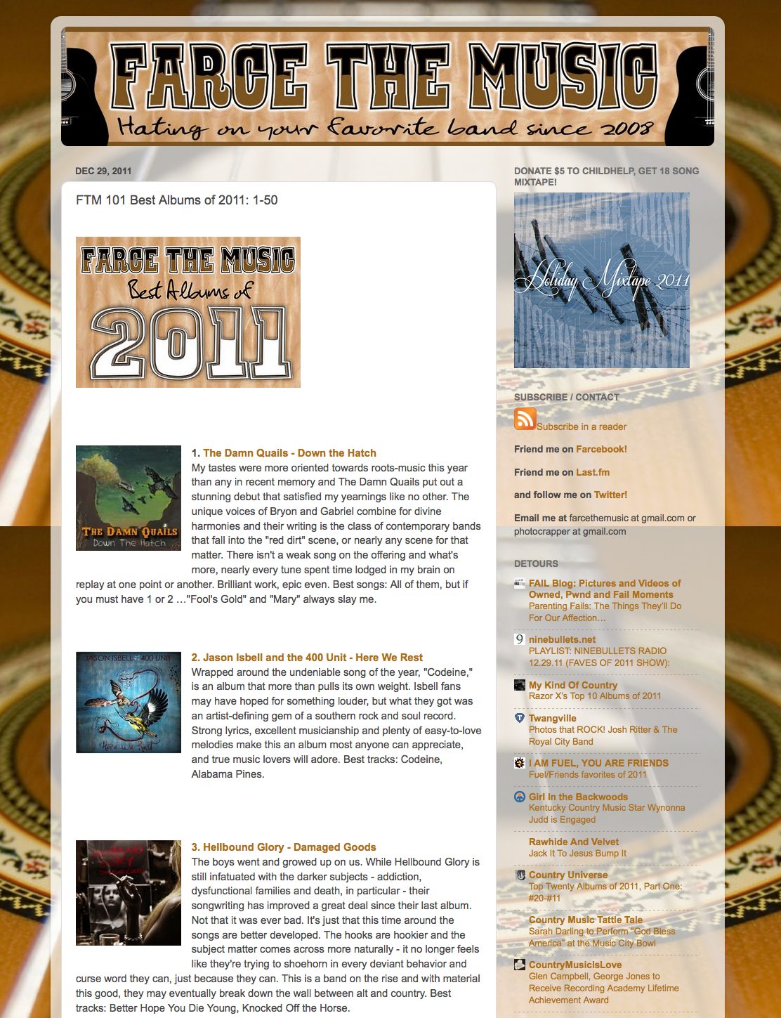Hellbound glory tops farce the music 39 s top albums of 2011 for Farcical behavior