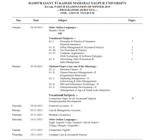 Rtmnu b com part ii time table for winter exam 2015 for Rtu 4th sem time table