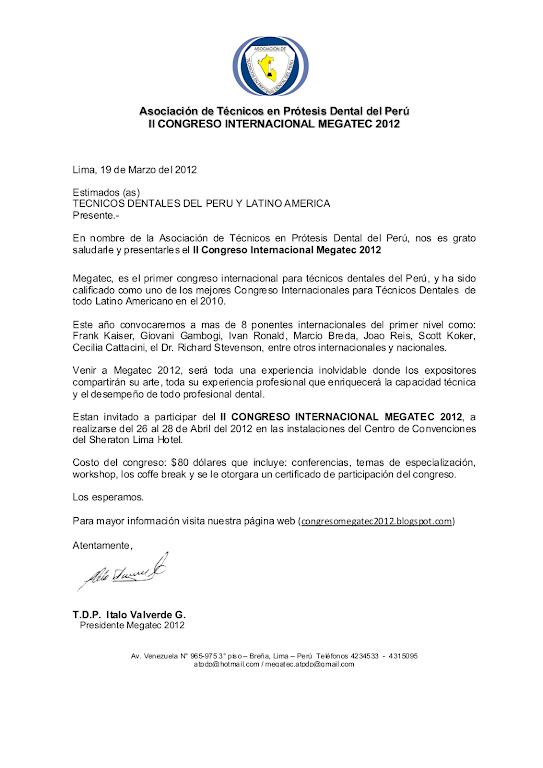 Carta de Invitacion MEGATEC 2012