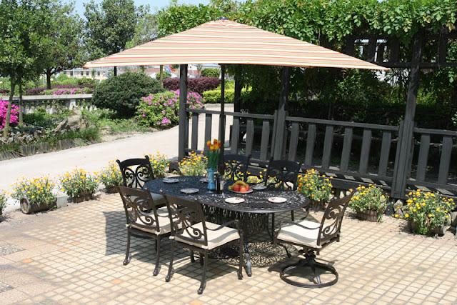 Alfresco Home Farfalla Outdoor Cast Aluminum 84 Inch Oval Dining Group