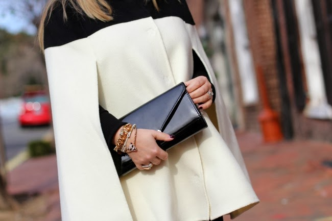 BR Monogram Colorblock Wool Cape - Banana Republic, Black Leggings - Zara, Black Clutch - Aldo