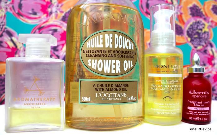 One Little Vice UK Beauty Blog: L'Occitane Aromatherapy Associates Monu Elemis Shower Body Oils