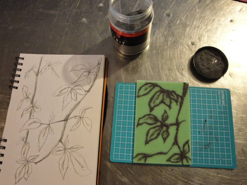 glass powder bullseye sgraffito frit painting leaf vine flutterbybutterfly flutterbyfoto day01