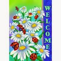 daisy welcome spring garden flag