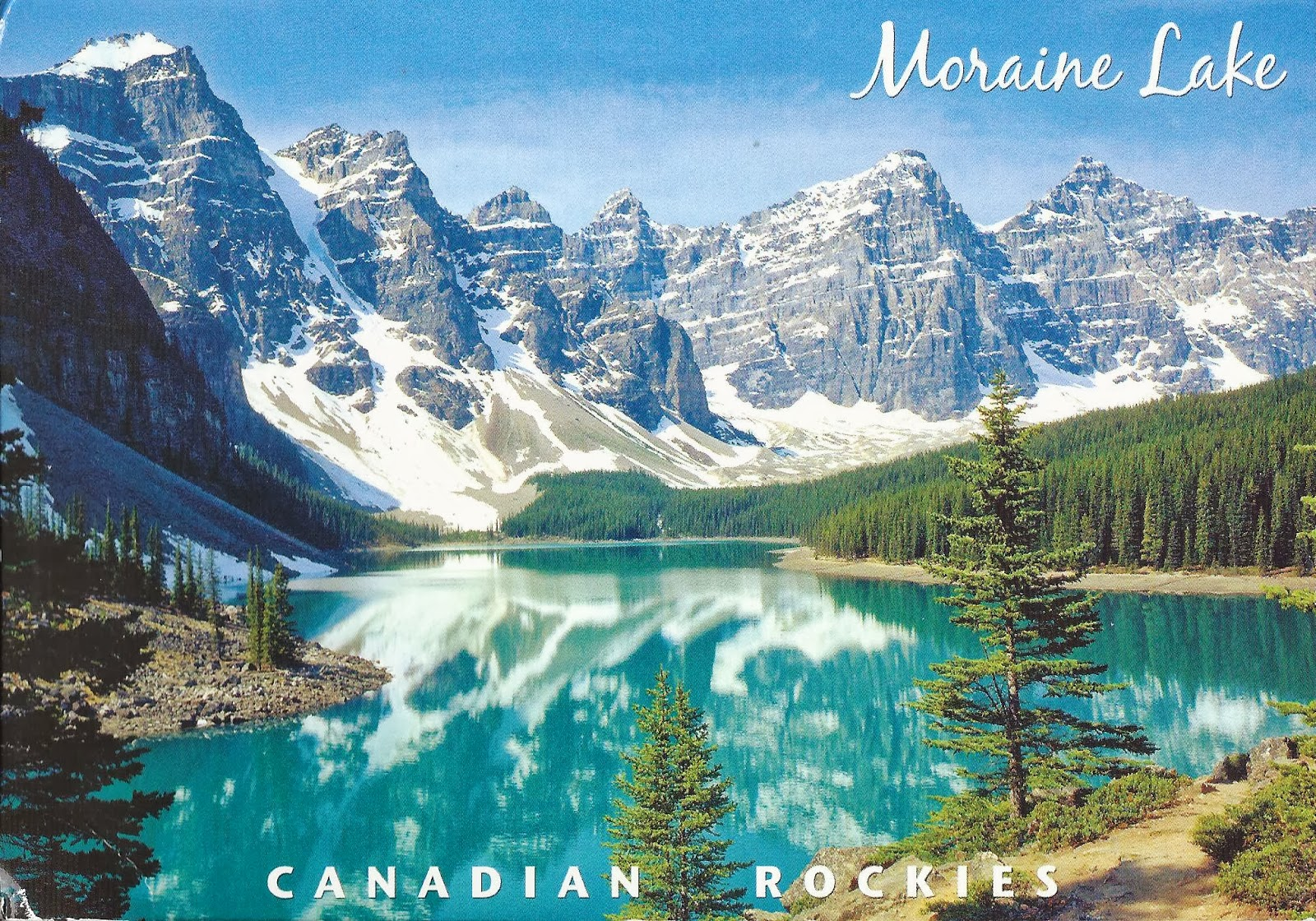 Of postcards moraine lake in banff national park alberta canada
