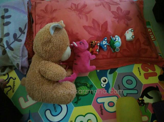 ragam anak-anak, bear, toy sleeping, bila anak tak mahu tidur, creative kids, anak kreatif,