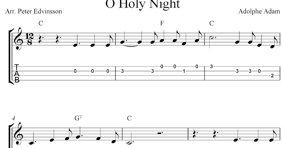 O Holy Night, free Christmas ukulele tabs sheet music