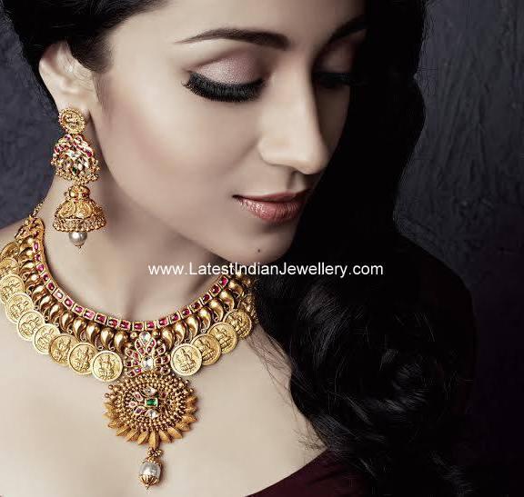 Trisha Antique Gold Kasu Necklace