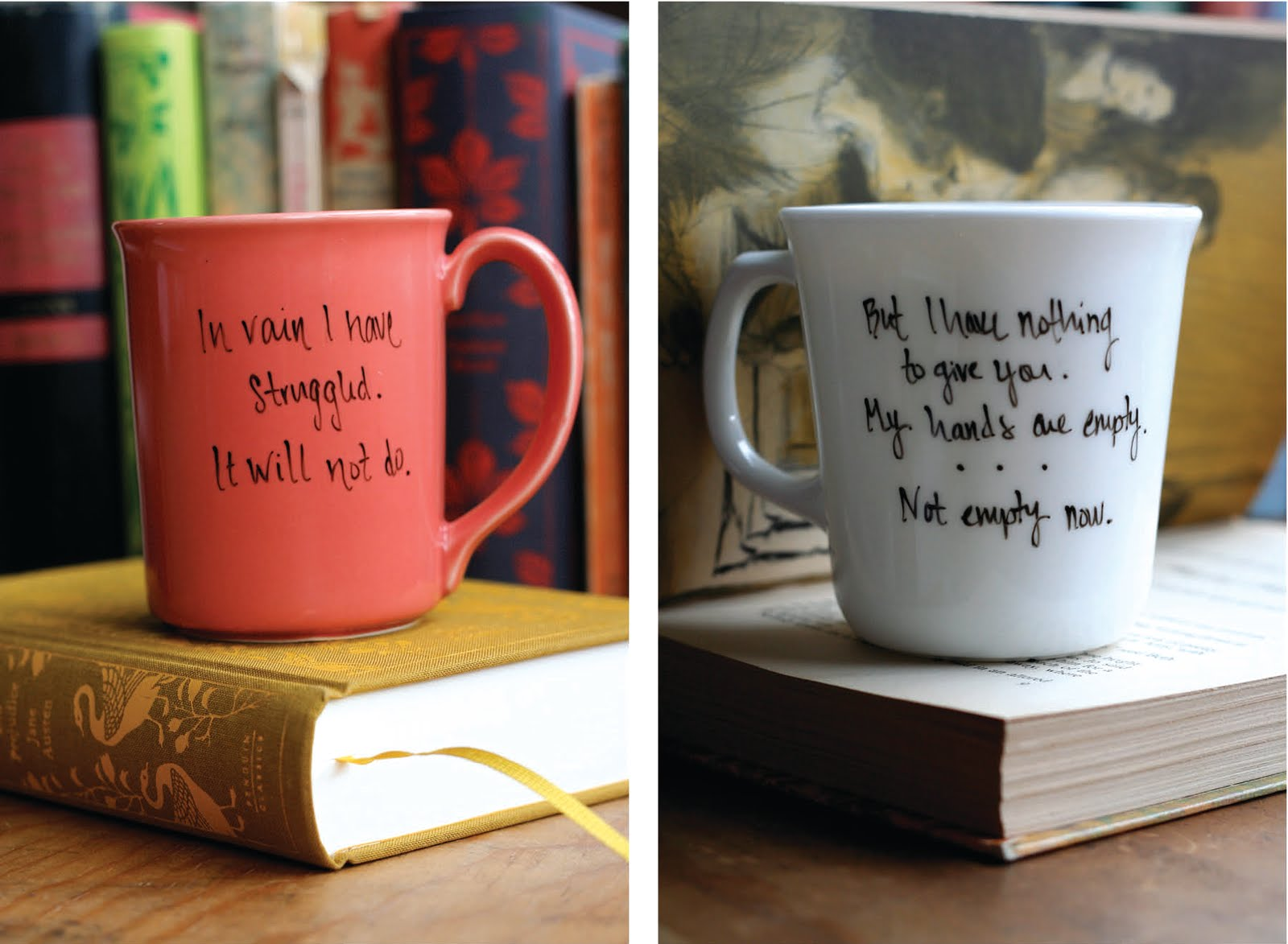 sarah fritzler: diy: literary quote mugs