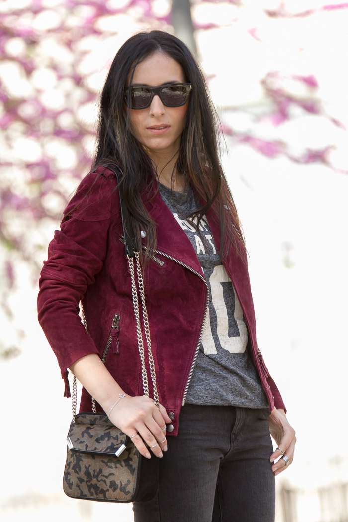 Outfit wearing Sunnies: YSL BOLD 4 in Dark Havana and burgundy suede biker jacket