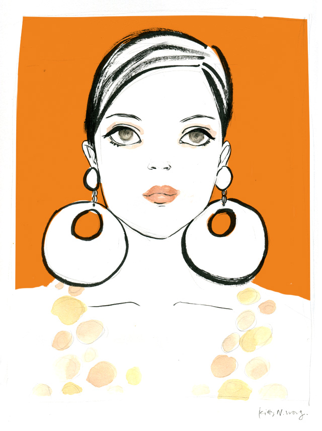 Kitty N. Wong / Orange Mod Girl in Pentel brush pen, gouache and Photoshop