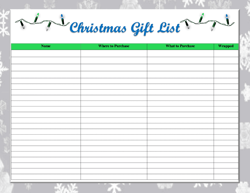 One Thrifty Space Free Printable Christmas Gift List