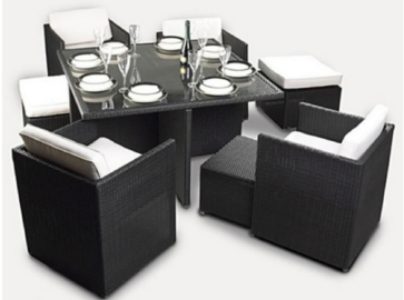 6 seater outdoor rattan space saver dining set furniture