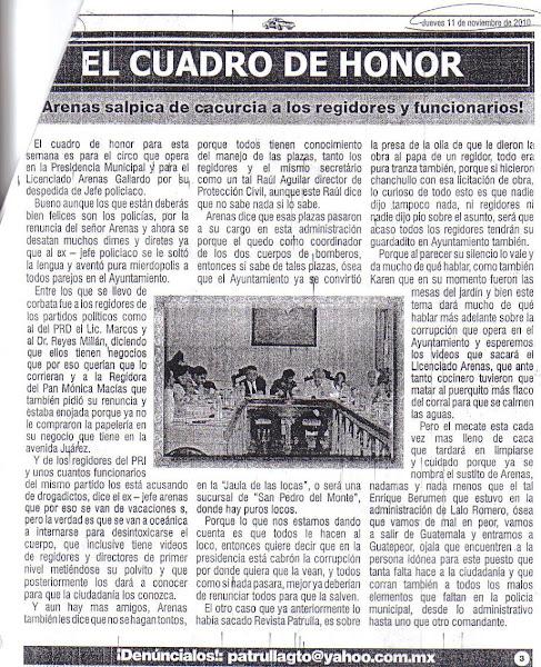 Arenas Salpica a Regidores y Funcionarios durante el H Ayuntamiento de Niceforo Guerrero