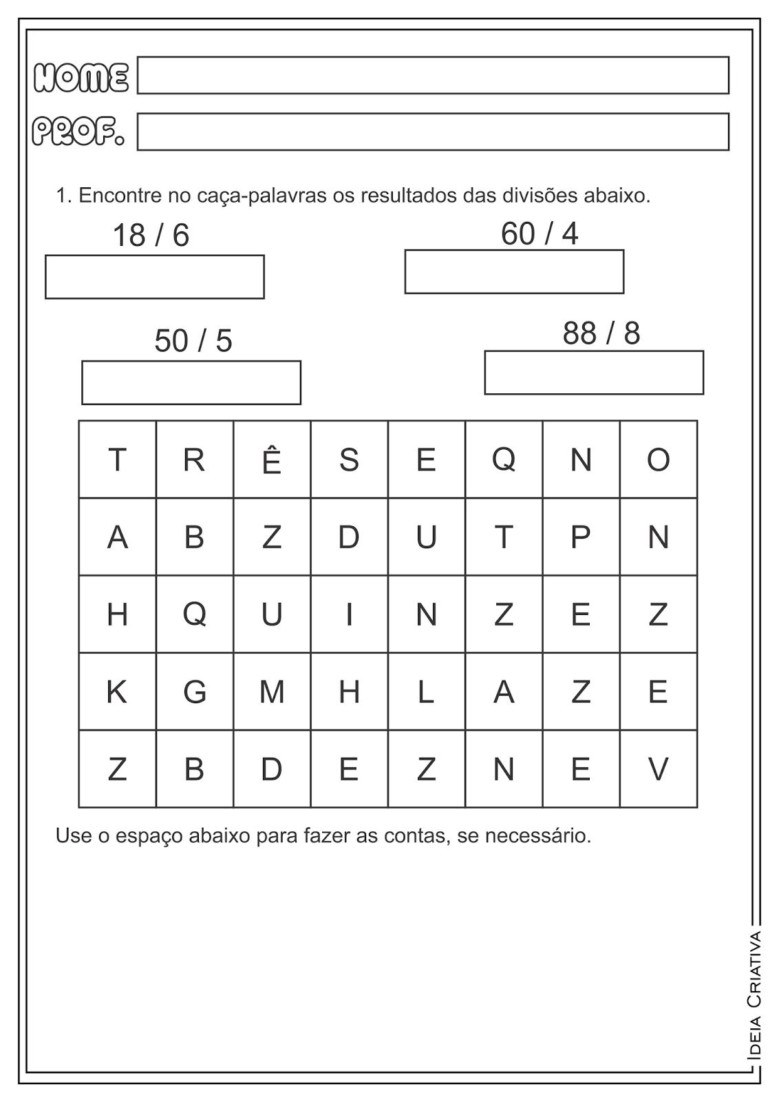 Atividades Matemática Divisão Ensino Fundamental